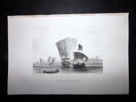 Nolan India C1880 Antique Print. Boats on the Ganges